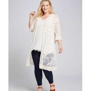 NWT Lane Bryant Embroidered Mesh Overpiece 22w 24w